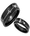 Black Tungsten His and Her Rings with Hearts and Heartbeats Design