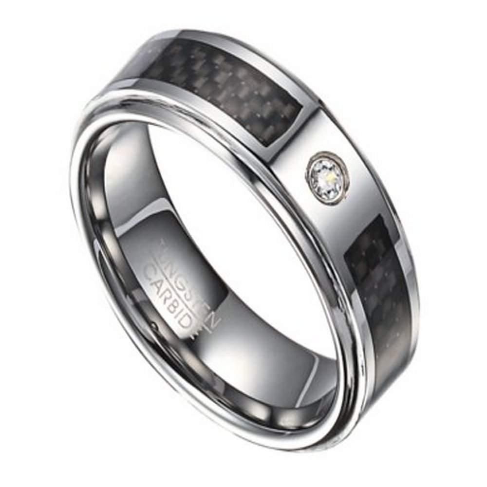Mens tungsten wedding band with single CZ 8mm width