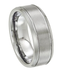 Tungsten Wedding Ring for Men With Polished Beveled Edges | 8mm