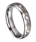 Tungsten Wedding Ring for Men with 3 CZ and Rounded Edges | 6mm
