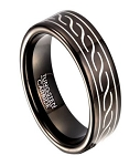 Polished Black Tungsten Ring for Men with Wave Design | 8mm