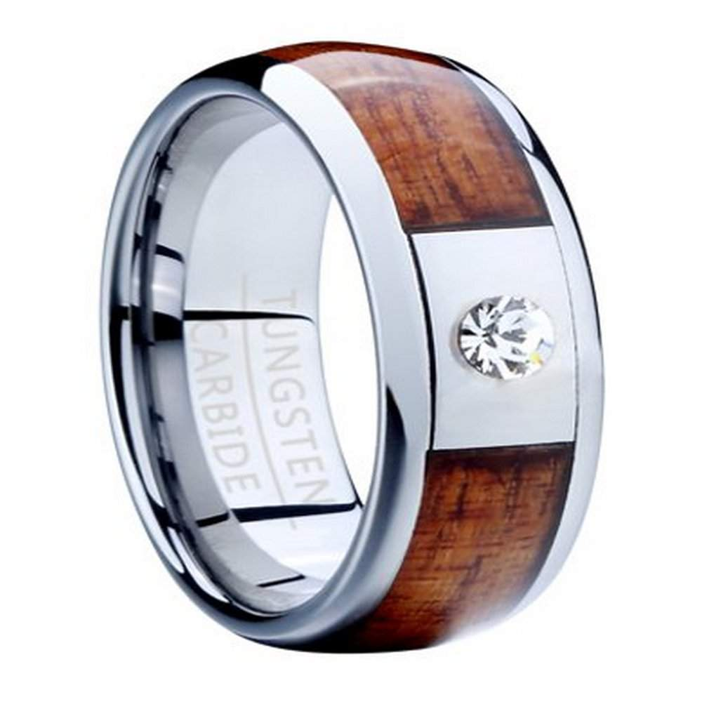 Mens Tungsten Ring with Koa Wood Inlay and CZ