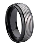 Black Ceramic Ring for Men with Grooved Tungsten Overlay | 9mm