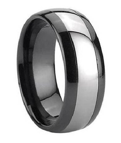 Two Tone Black Ceramic Ring For Men With Tungsten Inlay 7mm