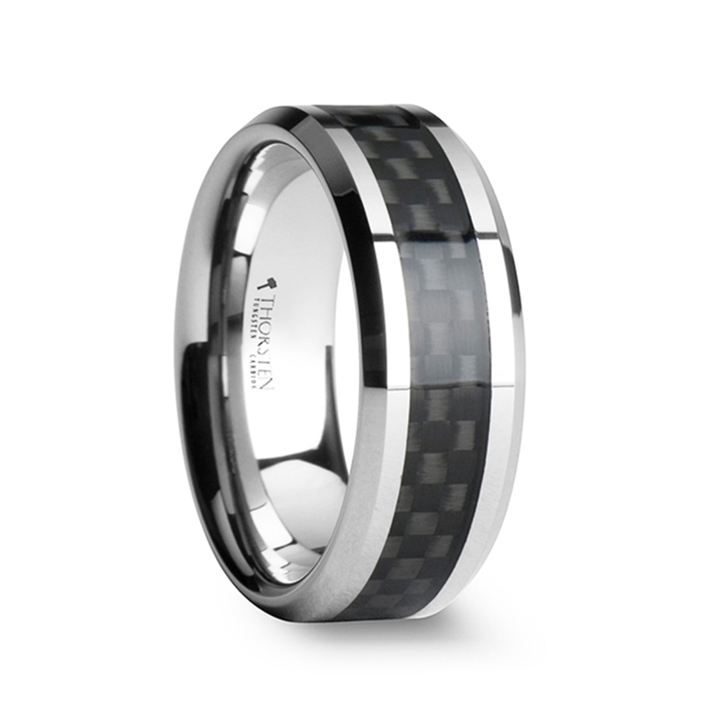 Men's Black Carbon Fiber Inlay Tungsten Carbide Wedding Band