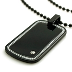 Black Tungsten Carbon Fiber Border Inlay Dog Tag Pendant Necklace