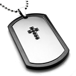 Stainless Steel Two-Toned Black CZ Dark Cross Dog Tag Pendant