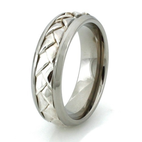 Titanium Sterling Silver Braided Center Design Ring