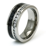 Titanium CZ Eternity & Black Carbon Fiber Inlay Ring