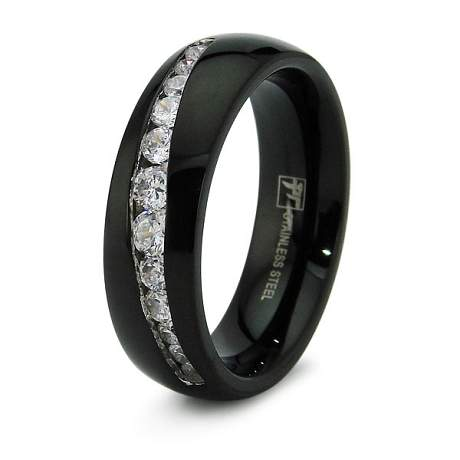 black stainless steel wedding rings black stainless steel wedding band with 12 cz s 1866