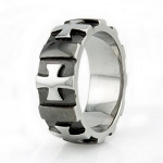 Stainless Steel Gear Edged Cross Ring