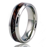 6.5mm Stainless Steel Brown Wood Camouflage Beveled Edge Ring