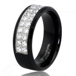 8mm Black Stainless Steel Dual CZ Row Ring