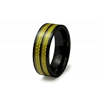 Ceramic Gold Carbon Fiber Inlay Ring
