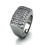 Sterling Silver Pave-Set CZ Statement Ring