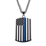 Thin Blue Line American Flag Police Officer Military Style Dog Tag Enamel Pendant with Chain