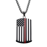 Thin Red Line American Flag Firefighter Military Style Dog Tag Enamel Pendant with Chain