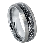 Tungsten Men's Semi-Domed Black IP Imitation Meteorite l 8mm