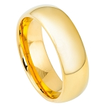 Tungsten Gold Plated High Polished Dome Ring in Various Widths