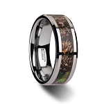 OVERGROWTH Realistic Tree Camo Tungsten Carbide Wedding Band with Green Leaves