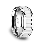 Men's Cutlass Tungsten Carbide Wedding Band with Gear Teeth Inlay & Polished Edges