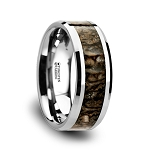 ORDOVICIAN Dinosaur Bone Inlaid Tungsten Carbide Beveled Edged Ring