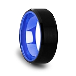 Men's Rigel Black Tungsten Band with Brush Center Bright Bevels and Deep Blue Inner