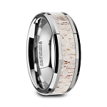 WHITETAIL Polished Beveled Tungsten Carbide Men's Wedding Band with Off White Deer Antler Inlay
