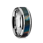Men's Beveled Tungsten Carbide Wedding Ring with Spectrolite Inlay Polished Finish