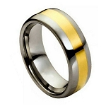 Tungsten High Polished Dome Yellow Gold Plated Ring l 9mm