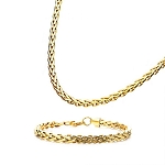 Stainless Steel Gold Plated 6mm Spiga Chain or Bracelet