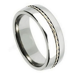 Tungsten Ring with a Braided Sterling Silver Band Center