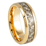 Tungsten Yellow Gold Plated IP with Golden Carbon Fiber Inlay