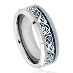 Tungsten Men's Shiny Beveled Edge with Blue Celtic Dragon Cut-out Inlay l 8mm