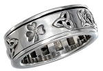 Sterling Silver Worry Ring with Irish Symbols Spinning Ring