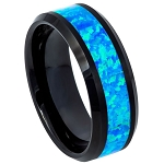 Men's Black IP with Synthetic Opal Inlay with Beveled Edges l  8mm