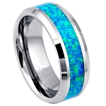 Men's Synthetic Opal Inlay with Beveled Edges l  8mm