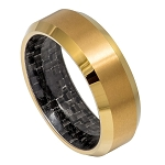 Tungsten Yellow Gold Plated IP with Black Carbon Fiber Inlay and Beveled Edges