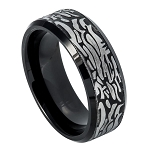Black Tungsten Ring with Laser Carved Rock Pattern