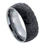 Black IP Plated with Super Sleek Tire Tread Laser Carved Pattern l 9mm