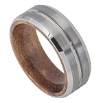 Men's Brushed Tungsten with African Sapele Mahogany Wood Inner Band