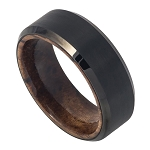 Black IP Brushed Tungsten with African Sapele Mahogany Wood Inner Band