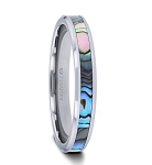 MAUI Thorsten Tungsten Carbide Ring with Mother of Pearl Inlay - 4mm