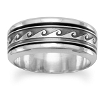 Sterling Silver Wave Design Spinner Ring