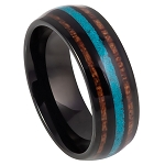 Men's Black IP Tungsten with Koa Wood and Crushed Turquoise Inlay