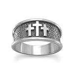 Sterling Silver Oxidized Three Cross Ring