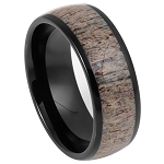 Tungsten Men's Domed Black IP Plated Real Deer Antler Inlay l  8mm