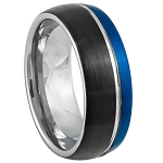 Tungsten Three Tone Blue and Black Brushed Finish Ring
