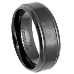 Men's Black Zirconium Ring Brushed Center and Stepped Edges l 8mm