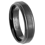 Men's Black Zirconium Ring Brushed Center with Stepped Edges l 6mm